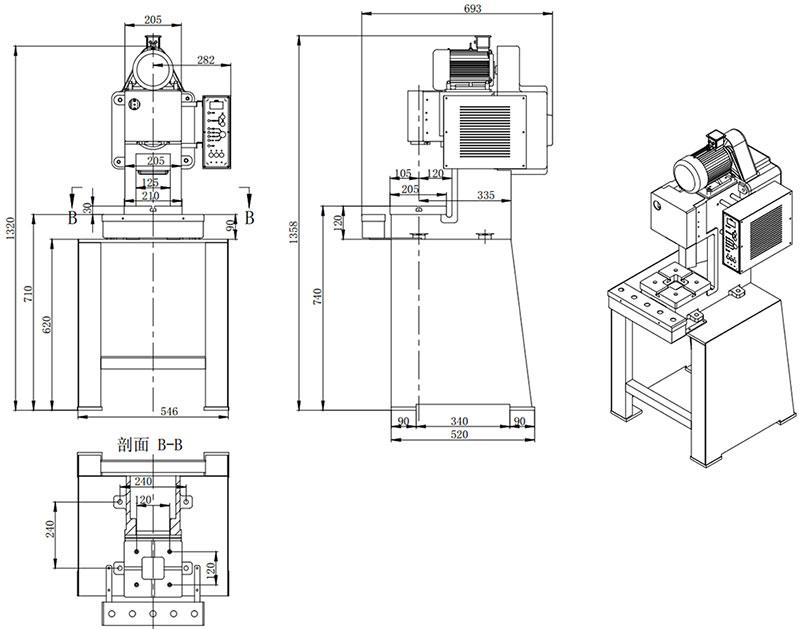 小型精密冲床外型尺寸,小型气动冲床外观尺寸,小吨位精密冲床3D结构图