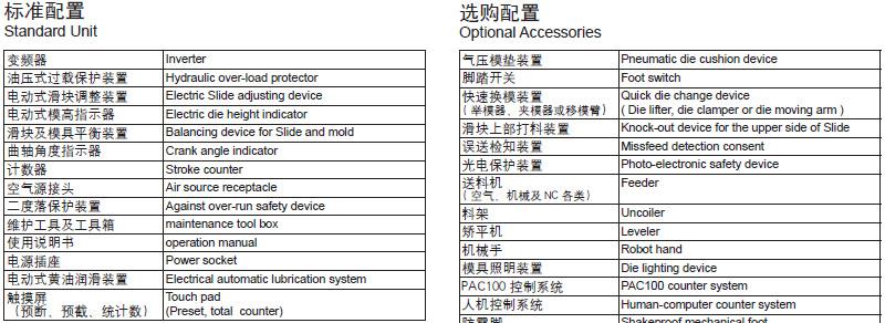 单曲轴冲床标准配置,半闭式冲床选配装置