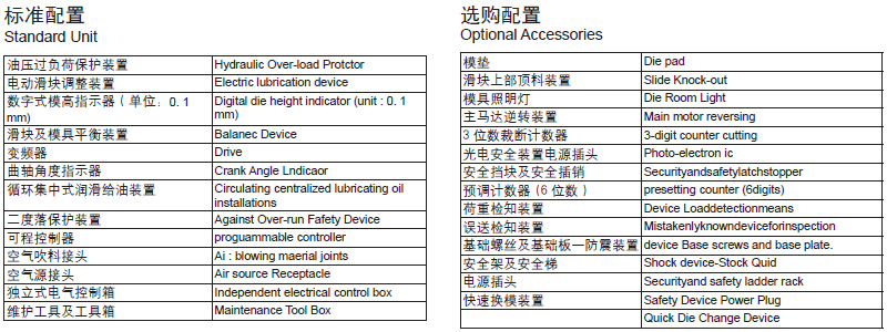 分体式冲床标准配置,分体式冲床选配装置